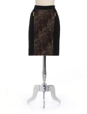 MICHAEL Michael Kors Leopard-Print Paneled Pencil Skirt