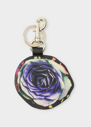 Paul Smith 'Rose Collage' Print Leather Keyring