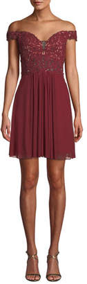 Faviana Mesh Fit-and-Flare Mini Dress
