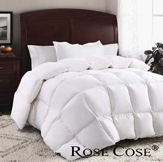 ROSECOSE Luxurious Goose Down Comforter Queen Duvet Insert All Seasons Solid White Hypo-allergenic 1200 Thread Count 750+ Fill Power 100% Cotton Shell Down Proof with Tabs (Queen
