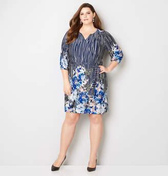 Avenue Floral Stripe A-Line Dress