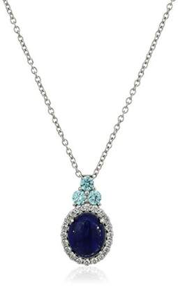 Swarovski Rhodium Plated Sterling Silver Genuine with aquamarine colored Zirconia Pendant Necklace