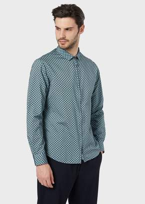 Giorgio Armani Slim-Fit Shirt In Exclusive Fabric With Flocked Pattern Based On Stripes