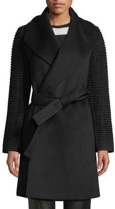 Sentaler Mid-Length Ribbed-Sleeve Shawl-Collar Baby Alpaca Wrap Coat