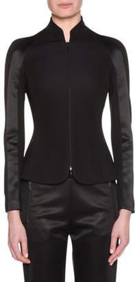 Giorgio Armani Zip-Front Viscose Jersey Jacket w/ Satin Inset