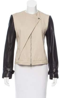 Jenni Kayne Leather-Accented Zip-Up Jacket