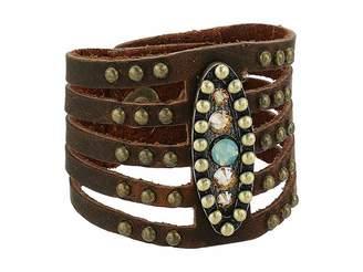 Leather Rock Jasmine Bracelet