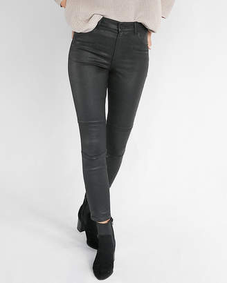 Express High Waisted Black Coated Stretch Moto Ankle Leggings