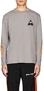 Palm Angels Men's Flame-Print Cotton Long-Sleeve T-Shirt - Gray