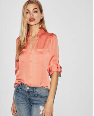 Express slim fit satin portofino shirt