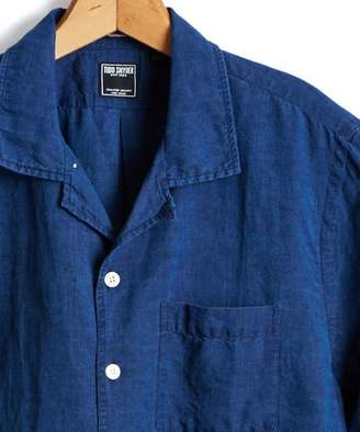 Todd Snyder Short Sleeve Camp Collar Indigo Linen Shirt