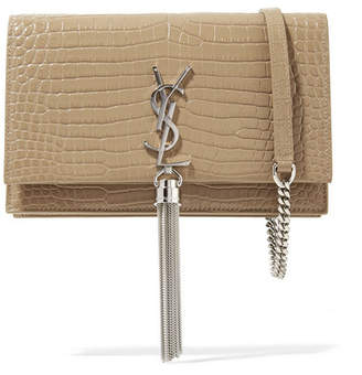Saint Laurent Kate Small Croc-effect Patent-leather Shoulder Bag - Beige