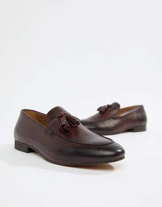 H By Hudson Bolton tassel loafers in wine leather