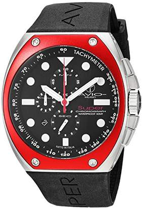 Avio Milano Men's 'Super' Quartz Stainless Steel and Rubber Casual Watch