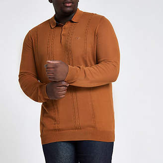 River Island Big and Tall brown cable long sleeve polo shirt