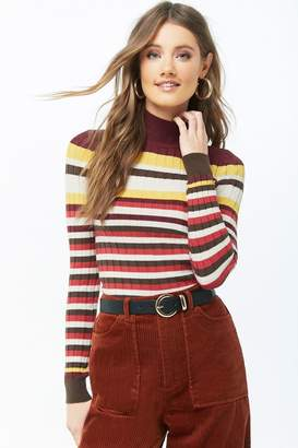 Forever 21 Striped Mock Neck Sweater
