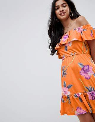 Asos DESIGN off shoulder sundress with tiered skirt in palm print