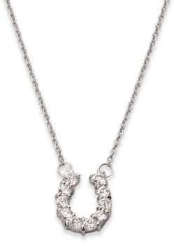 Roberto Coin Tiny Treasures Diamond & 18K White Gold Mini Horseshoe Pendant Necklace