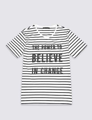 Marks and Spencer Unisex Pure Cotton Charity Striped Slogan T-Shirt
