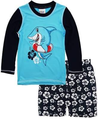 Sweet & Soft Baby Boys Shark Long Sleeve Rash Guard Hibiscus Swim Trunk 2Pc Set