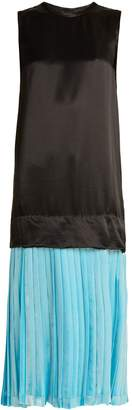 Toga Pleated-hem satin midi dress