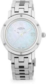 Mother of Pearl Vintage Mother-Of-Pearl & Stainless Steel Bracelet Watch