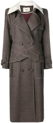 Fendi micro-check trench coat