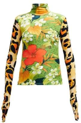 Richard Quinn Floral Print High Neck Velvet Top - Womens - Green Multi