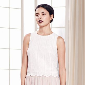 LC Lauren Conrad Runway Collection Scalloped Lace Crop Top - Women's $40 thestylecure.com