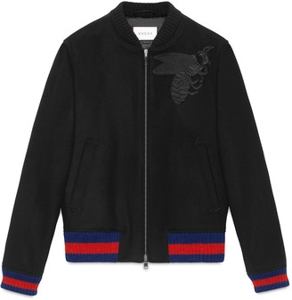 Wool bomber jacket with bee appliqué $1,890 thestylecure.com