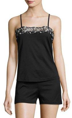 La Perla Liaison Lace-Trim Shortie Pajama Set, Black $310 thestylecure.com