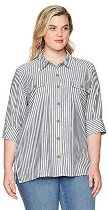 Chic Classic Collection Women's Plus Size Button Front 3/4 Sleeve Woven Shirt-Stripe