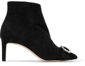Jimmy Choo Hanover 65 Crystal-embellished Suede Ankle Boots - Black