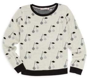 Bonpoint Little Girl's & Girl's Wool Cherry-Print Sweatshirt