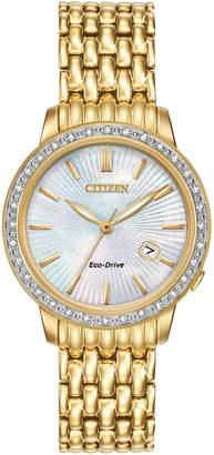 Citizen 29mm Yellow Golden Bracelet Watch w/ Diamond Bezel