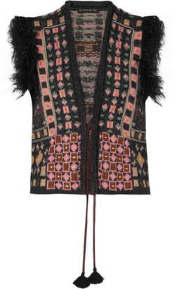 Etro Faux Fur-trimmed Jacquard-knit Vest