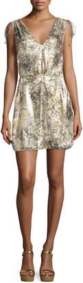 Haute Hippie The Follow Me Metallic Floral Dress, Gold Multicolor