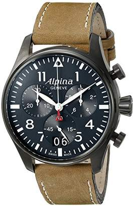 Alpina Men's AL-372N4FBS6 Startimer Pilot Chronograph Big Date Analog Display Swiss Quartz Brown Watch