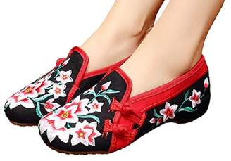 Tianrui Crown Womens Embroidered Wedge Heel Rubber Sole Pointed Slip-on Loafer sandal shoe