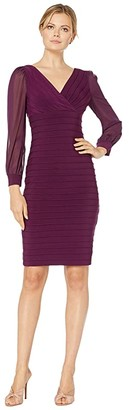 Adrianna Papell Jersey and Chiffon Banded Dress