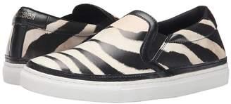 Just Cavalli Poetic Zebra Printed Nappa Women's Slip on Shoes