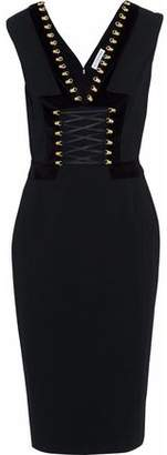Altuzarra Lace-Up Velvet-Trimmed Crepe Dress