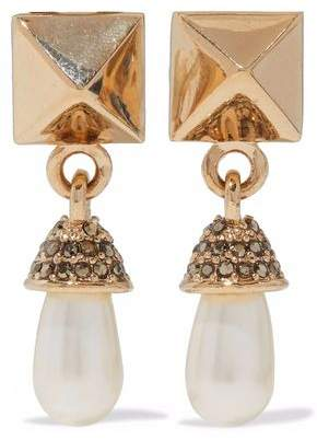 Valentino Valentino Woman Rockstud Gold-tone, Faux Pearl And Crystal Clip Earrings White Size