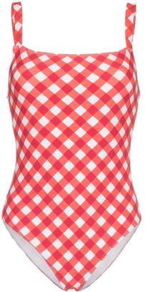 Reformation 'Eliza' checked one piece swimsuit