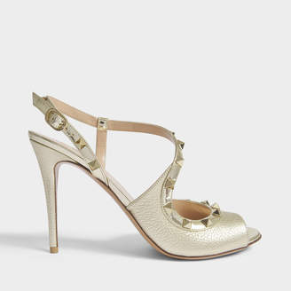 Valentino Rockstud Slingback 100 Sandals in Gold Metallic Leather