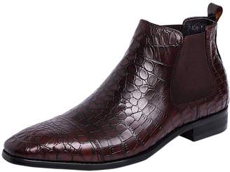 f59fe0bbedc0 Santimon Boots for Men Chelsea Boots Embossed Leather Print Shoes Ankle  Boots