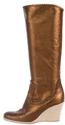 Donald J Pliner Metallic Wedge Boots