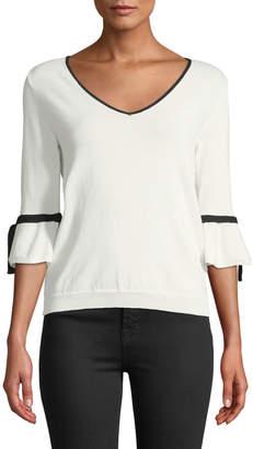 Love Token Brooks V-Neck Bell-Sleeve Sweater