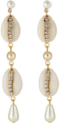 A.V. Max Rhinestone & Cowrie Shell Statement Earrings