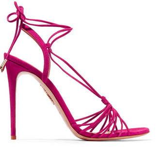 Aquazzura Whisper Lace-up Suede Sandals - Fuchsia